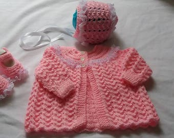 3 Piece Pink Lace Knitted Matinee Set 0/3 Months