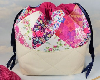 Liberty print quilted drawstring project bags