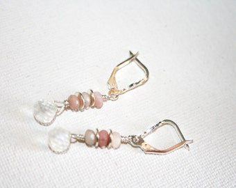 MARL Opal, Moonstone and Sterling Earrings