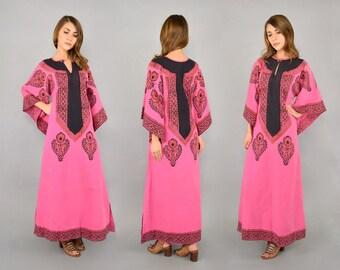 70's Indian Cotton Angel Sleeve Dress
