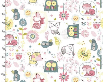Whimsy by 3 Wishes .x1m white printed cotton