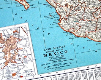 Map of Mexico and Map of Central America- 1936 Vintage Map from World Atlas - 14 x 11 - 2 Sided