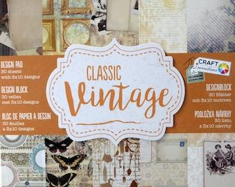 """Block 30 paper """"Classic"""" Vintage""""pattern 3 Designs 15x15cm"""