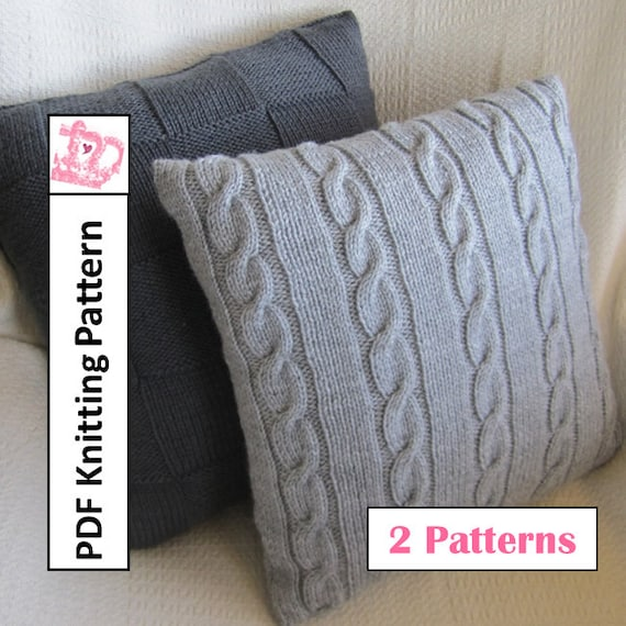 Knit Pillow Cover Patterns Classic Cable And Simple Squares 18 X18