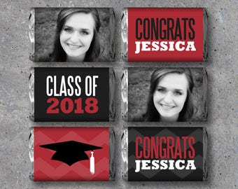 Graduation Mini Candy Bar Wrappers – Printable Personalized Files – Photo Party Favors designed w/ your grad's photo, name & school color!