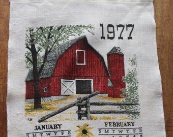 Vintage Linen Tea Towel, 1977 Calendar, Red Barn, Calendar Tea Towel, 29 x 9