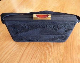 Vintage Black Corde 1940s Handbag