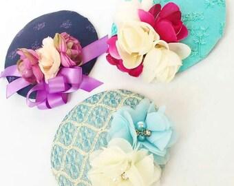 Sale Wedding Fascinators Different Designs Vintage Inspired Cocktail Hats Blue Cream Purple Lavender and Mint Green
