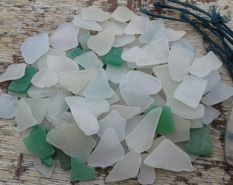 100+ sea glass pieces 0.5''- 1.3''[1.3-3.3cm]. Genuine natural beach glass. Surf tumbled glass for various crafts and decoration.