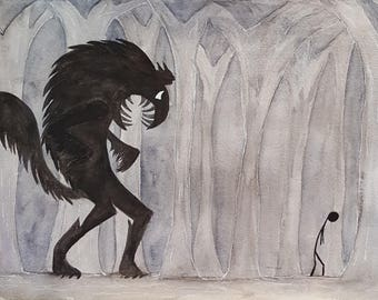 Wolf Prowl Original Art Painting
