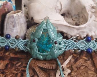 earth goddess head piece, macrame head piece