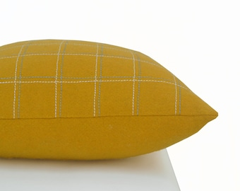 Mustard Pillow Cover, Yellow Throw Pillow, Decorative Pillow cover, Square Pillow, Wool pillow, Luxury Decorative Pillows,Mother's day gifts