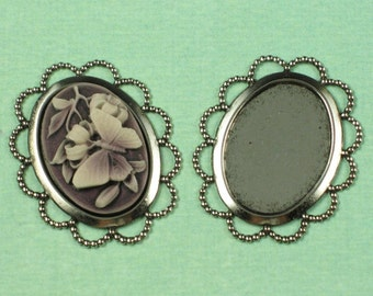 6 Antique Silver Cameo Setting Supplies Finding 647
