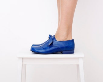 Blue flats Women's shoes, patent Leather slip ons handmade ADIKILAV , ON SALE 20%