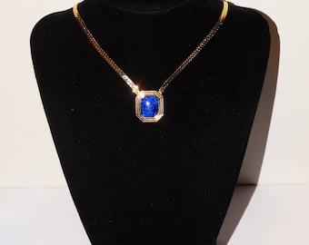 Christian Dior Designer Signed Gold Plated Blue Stone Necklace.