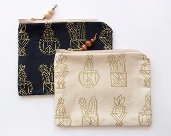 Gold Cactus Pouch, Cactus Zipper Pouch, Screen Printed Cactus Bag