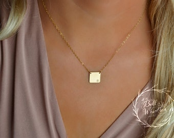 Square Initial Necklace, Personalized Jewelry, Gold Necklace, Delicate Necklace, minimalist necklace, gift for mom, new mom