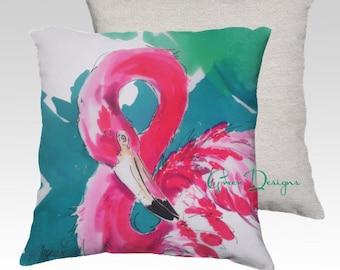 Flaming Flamingo Painting Tropical Bird Velvet Pillow Cover Throw Velveteen Designer