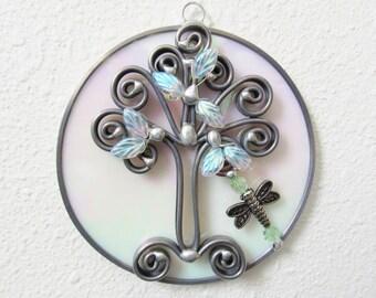 Outlander Gifts, Stained Glass Suncatcher, Tree of Life, Celtic Suncatcher, Handmade Gifts, Leaded Glass, Iridescent White, Wall Decor