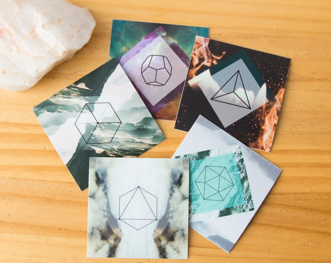Featured listing image: 5 Platonic Solids Sacred Geometry Stickers - Ether, Water, Wind, Fire Earth, Vinyl Stickers, seed of life, unity, crystal grid, boho, tarot