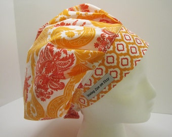 Beautiful Bouffant scrub hat in shades of orange, nurse gift, surgical tech,