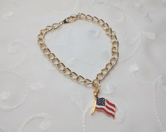 Patriotic Bracelet, Flag Bracelet, Fourth of July Bracelet Holiday Jewelry