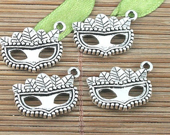 26pcs tibetan silver color leaf mask in party design charms EF0991