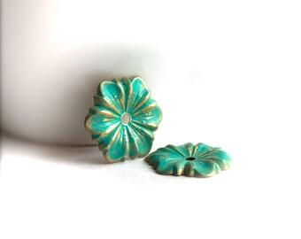 Turquoise Verdigris Patina Flower Charms  - 2 pcs. - 23mm