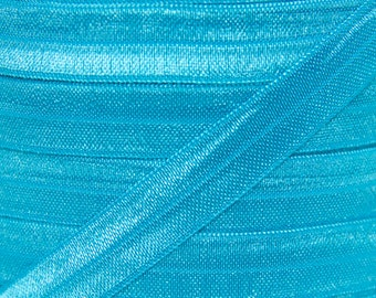 Turquoise Fold Over Elastic - Elastic For Baby Headbands and Hair Ties - 5 Yards of 5/8 inch FOE