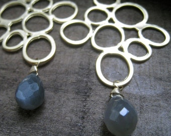 SALE--Circle of Life Earrings---gray moonstone in 14k gold filled