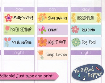 Editable floral event stickers [Printable]. For Erin Condren Planner. Stickers.