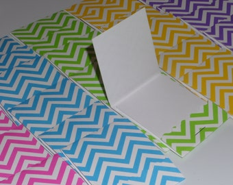 Set of 30 Neon Chevron Matchbook Notepads, party favors, thank you gifts, mini note pad