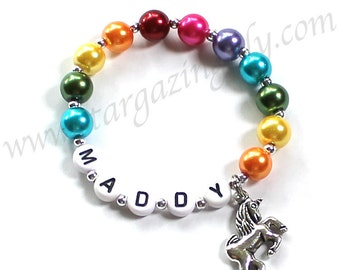 Unicorn Party Favor Bracelet Unicorn Charm Bracelet Rainbow Pearls YOU CHOOSE pearl color personalized name bracelet stargazinglily