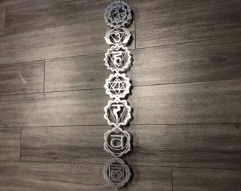 Chakra Symbols Metal Wall Art - Aluminum Art - Silver Chakras - Yoga Studio Decor - Metal Wall Decor - Chakra Art -Laser Cut Chakras