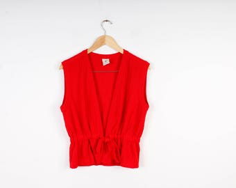 Knitted Red Vest Vintage Hippie Style Vest Red Cardigan Knitwear Retro Boho Women Cardigan Vintage 60s Top Summer Knitted Top