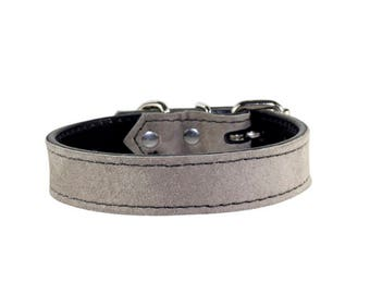Grey Suede Dog Collar - Leather Dog Collar - Suede Grey Leather Dog Collar - Grey Leather Dog Collar With Nickle Hardware