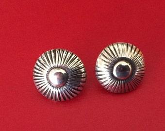 Sterling Silver Southwest Native American Stamped Pierced Earrings