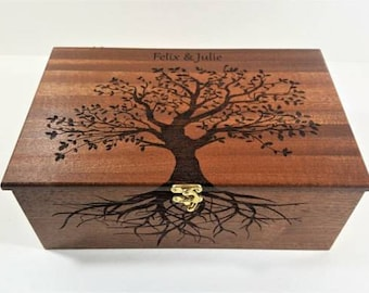 Premium Wood Custom Personalized Tree of Life Memory Box, Keepsake Box Hand Burned wood memory box, wedding card box, family tree box