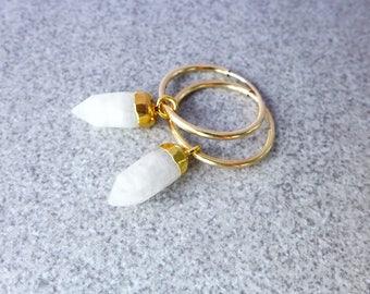 Rainbow Moonstone Earrings, Gemstone Hoop Earrings, Moonstone Dangle Spike Earrings, Gold Filled Hoop Earrings,  Moonstone Jewelry