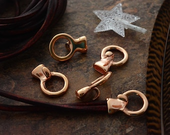 Bright Copper: Hook and Loop Clasp, Hook Leather Clasp, 24x10mm, 1 clasp, Leather Closure, Findings, Jewelry Making Supply, Halo Clasp