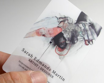 100 Business Cards - Opaque or frosted plastic stock - 20 PT Thick - full color - free rounded corners