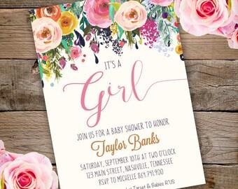 Whimsical Girl Baby Shower Invitation, girl baby shower invite, baby shower, floral baby shower, watercolor baby shower invitation