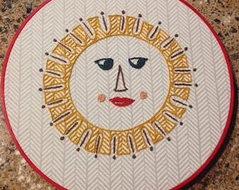 Scandinavian Modern Sun Embroidery