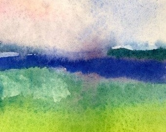 Meadow by the Sea, 5x7 Abstract Art Print