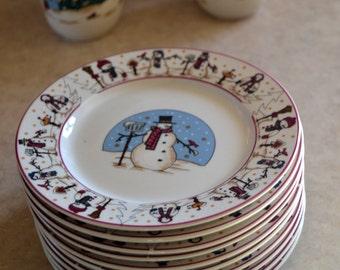 Snowmen Serenade II, SALAD Plate, Meiwa Table Art, 1997, Snowman, Holiday Christmas Winter Dishes