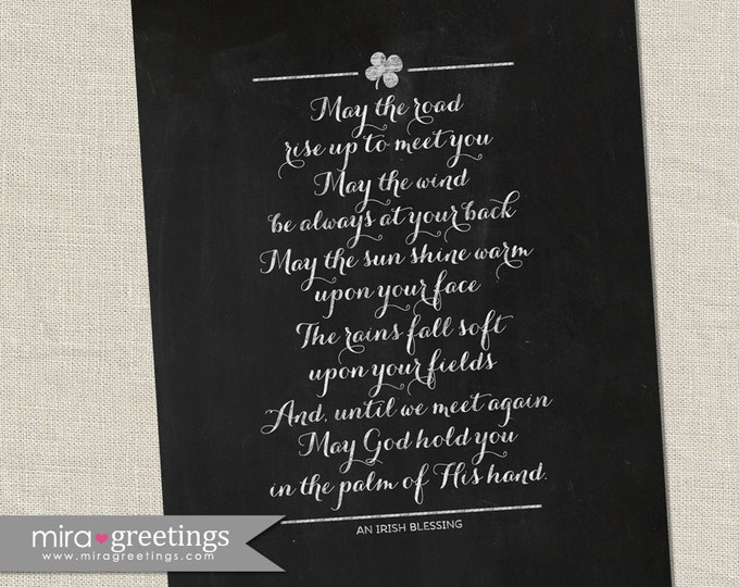 Irish Blessing Digital Art - May the road rise up to meet you - blackboard chalkboard subway art - digital printable file - instant download