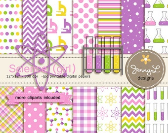 Science, Scientist Girl, Digital Paper, Molecule, Test Tube, Flask, Atom Clipart for Birthday, Baby Shower, Scrapbooking Paper Party Theme,