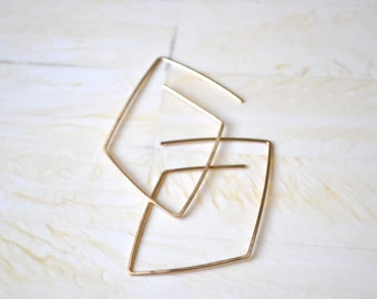 Small Gold Hoop Earrings Geometric Gold Earrings Simple Gold Earrings Diamond Earrings