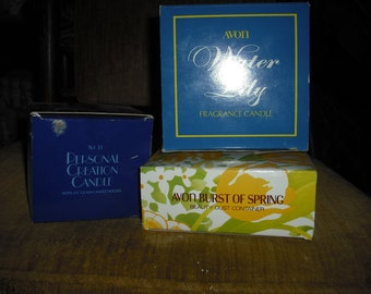 AVON VINTAGE COLLECTABLE candles and tin