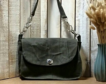 Best Seller Olive Waxed Canvas Retro Inspired Shoulder Bag